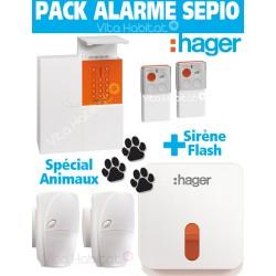Pack Alarme SEPIO ANIMAUX RLP305F avec Sirene Exterieure - Logisty Hager- RLP305F