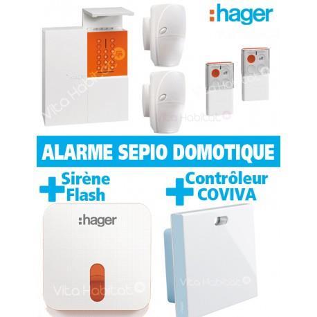 Pack Alarme Radio SEPIO Domotique RLP306F avec Sirene Exterieure  - sans fil - Logisty Hager  RLP306F