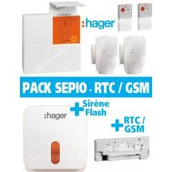 Pack Alarme Radio SEPIO avec Transmetteur RTC / GSM + Sirene Exterieur ANIMAUX - Logisty Hager