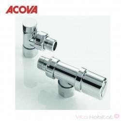 Kit robinetterie manuelle équerre inversée chromée - ACOVA 841598