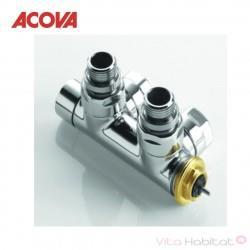 Pack Robinetterie thermostatisable en H coude tête à droite monotube / bitube chromé - ACOVA 841458