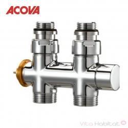 Pack Robinetterie thermostatisable en H droit tête à gauche monotube / bitube chromé - ACOVA 841508