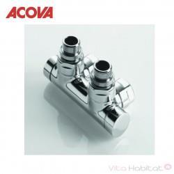 Pack vanne d'isolement en h équerre monotube / bitube chromé - ACOVA 841538