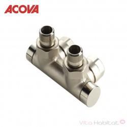 Pack vanne d'isolement en h équerre monotube / bitube nickelé - ACOVA 841038