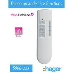 Télécommande LS 8 fonctions RADIO Logisty Hager (pile fournie) - S608-22X