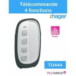 TU444 - Télécommande 2x4 fonction LS radio/tebis Logisty HAGER (pile fournie) - TU444
