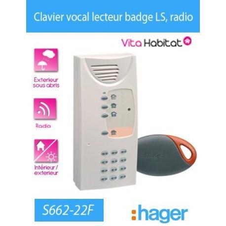 CLAVIER vocal avec lecteur de badge Logisty Hager (pile fournie) - S662-22F