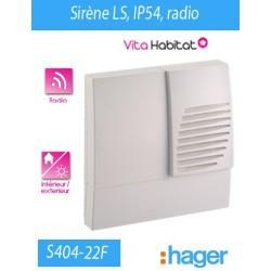 Sirene LS RADIO IP54 - HAGER LOGISTY (pile fournie)  - S404-22F
