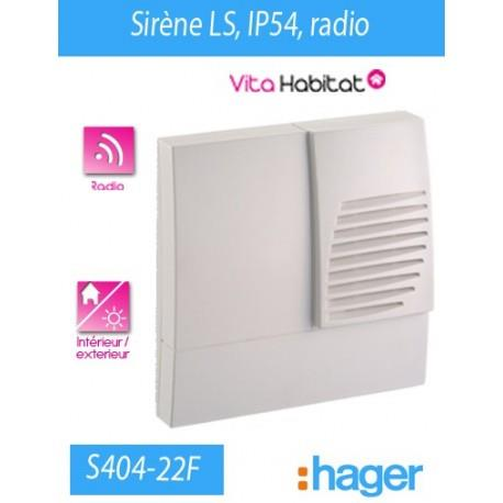 Sirene LS RADIO IP54 - HAGER LOGISTY (pile fournie)  - S404-22F