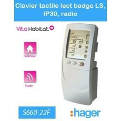 CLAVIER Tactile avec lecteur de badge Logisty Hager (pile fournie) - S660-22F