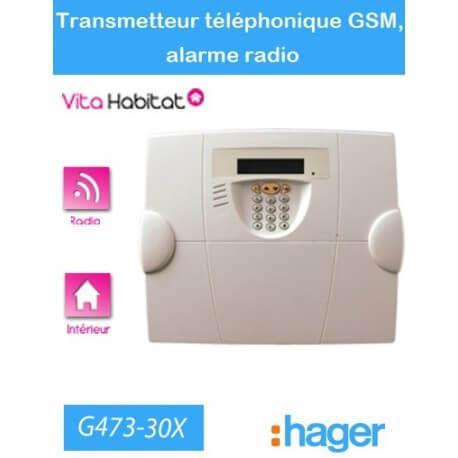 Transmetteur téléphonique GSM, alarme radio Hager logisty - G473-30X