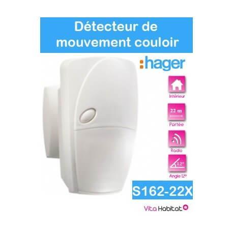 Détecteur de mouvement infrarouge - couloir 12° - 22 m - S162-22X - SEPIO Logisty Hager - pile lithium fournie