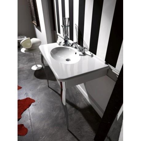 Lavabo Retro Parigi 100 55 Cm Avec Pieds Metal Chrome Percage 3