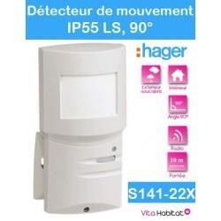 Détecteur de mouvement  90°, 10m - IP55 LS - S141-22X - radio Logisty Hager - pile lithium fournie