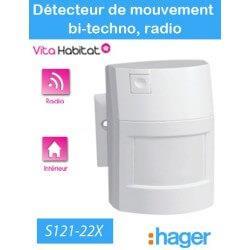 Détecteur de mouvement - bi-technologie 90° - 12m - S121-22X - Logisty Hager - pile lithium fournie