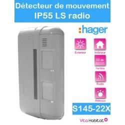 Détecteur de mouvement exterieur 2x12m- special animaux - Façade - IP 55 - S145-22X - Logisty Hager - pile lithium fournie