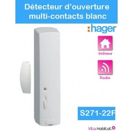 Détecteur d'ouverture multi-contacts - S271-22F - blanc - Logisty Hager - pile lithium fournie