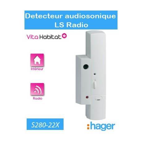 Détecteur audiosonique de bris de vitre - LS radio - S280-22X  - Logisty Hager - pile lithium fournie