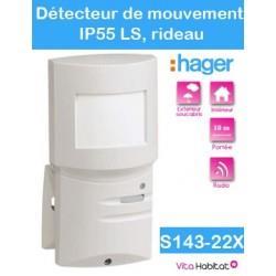 Détecteur de mouvement rideau IP55 8 degrés, 10 m-  LS - S143-22X - Radio Logisty Hager - piles lithium fournies