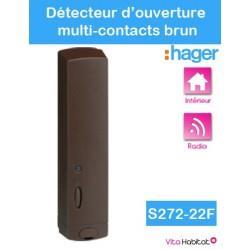 Détecteur d'ouverture multi-contacts - S272-22F - Brun - Logisty Hager - pile lithium fournie