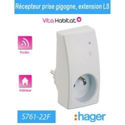 Récepteur prise gigogne - S761-22F - Logisty Hager - 230V - Extension LS radio