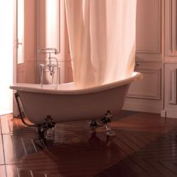 BAIGNOIRE RETRO RESINE BLANC AVEC PATTES DE LION METAL CHROME - CRISTINA ONDYNA WPG1051