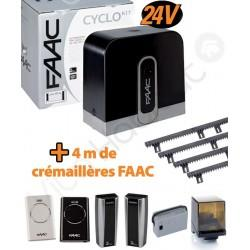 Cyclo KIT 400Kg Motorisation portail coulissant FAAC intégral 24V (C720) + 4M de crémaillère - 105999144