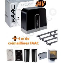 Cyclo KIT 400Kg Motorisation portail coulissant FAAC intégral 24V (C720) + 4M de crémaillère - 105999144