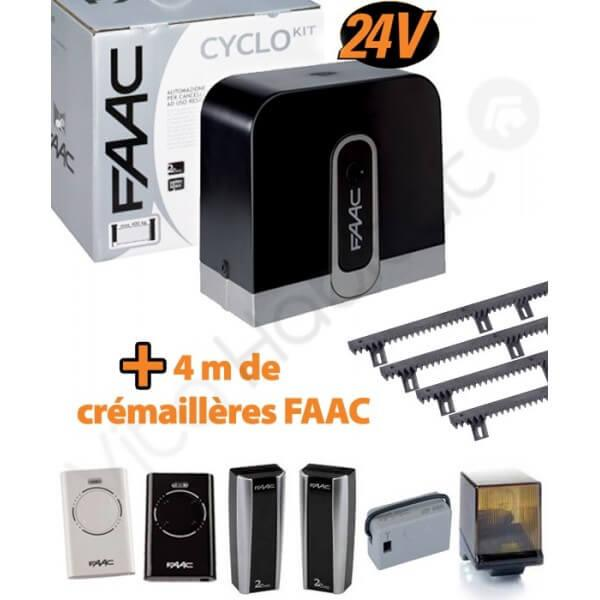 Cyclo Kit 400kg Motorisation Portail Coulissant Faac Integral 24v