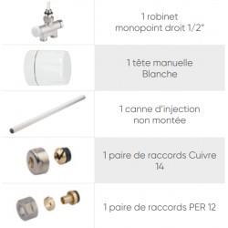 Kit monotube avec entraxe 50 mm Nickel ATLANTIC - 850326