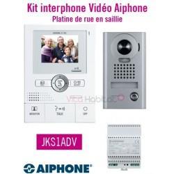 Kit portier vidéo AIPHONE JKS1ADV - Ecran LCD 3,5'' - Grand angle 170 degrés - Platine de rue en saillie - 2 fils - 130201