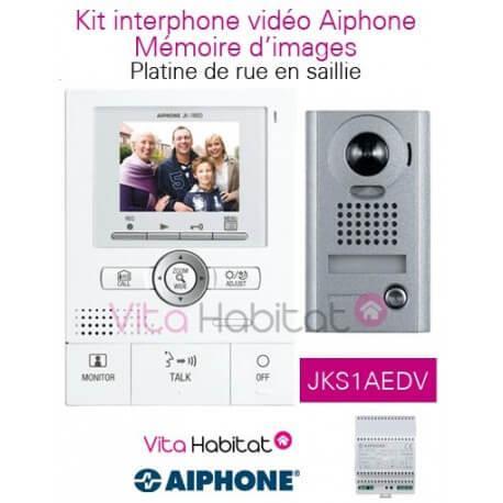 Kit portier vidéo AIPHONE JKS1AEDV avec mémoire d'images - Ecran LCD 3,5'' - angle 170 degrés - platine en saillie - 130204