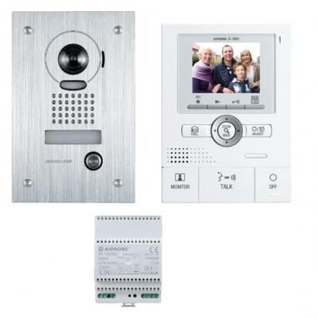 Kit portier vidéo AIPHONE JKS1AEDF avec mémoire d'images - Ecran LCD 3,5'' - angle 170 degrés - platine encastrée - 130205