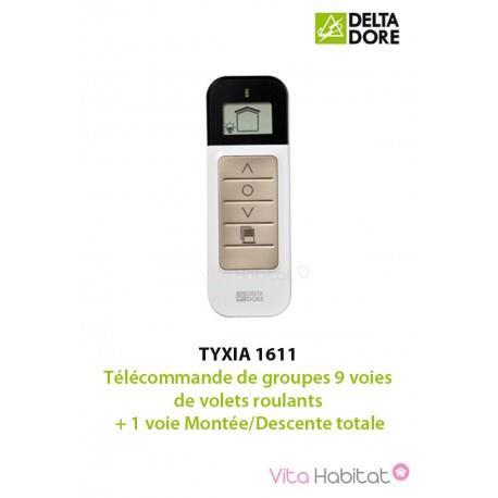 TYXIA 1611 - Télécommande de groupes 9 voies de volets roulants + 1 voie Montée/Descente totale - DELTA DORE 6351122