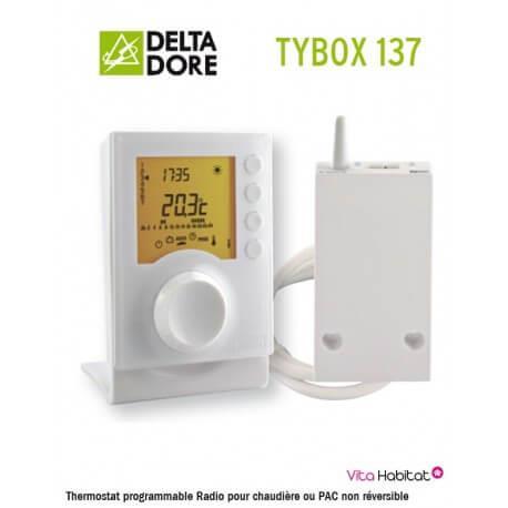 TYBOX 137 Thermostat programmable Radio pour chaudière ou PAC non réversible - Delta Dore - 6053007