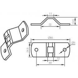 Oméga trous Ø5mm entraxe 48mm logement Q10 CAME YM0153