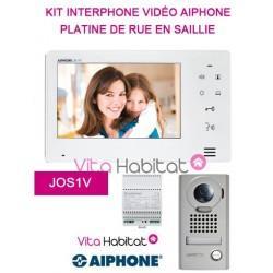 Kit portier Vidéo AIPHONE JOS1V - Ecran 7'' - Platine de rue en saillie - 130400