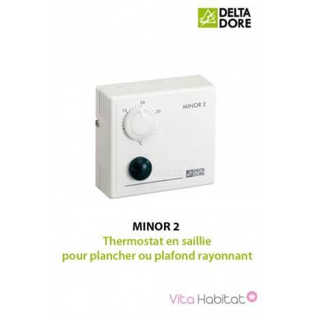 MINOR 2 - Thermostat en saillie pour plancher ou plafond rayonnant - DELTA DORE 6151024