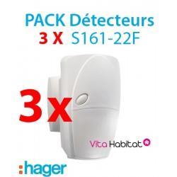 Pack de 3 détecteurs de mouvements S161-22F pour alarme HAGER