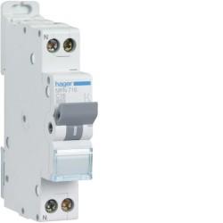 Disjoncteur 1P+N 3kA C16A 1M - DISJONCTEURS PH+N  HAGER MFN716