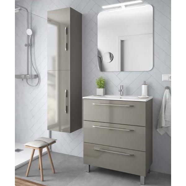 Meuble de salle de bain FUSSION LINE 900 taupe brillant 3 tiroirs - SALGAR  26569