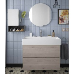 Meuble salle de bain suspendu 2 tiroirs FUSSION LINE 800 Chêne Naturel - SALGAR 23327