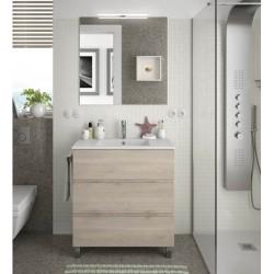 Meuble de salle de bain 3 Tiroirs FUSSION LINE 800 Chene Naturel - SALGAR 23268