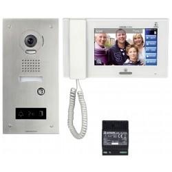 Kit vidéo accessibilité avec platine inox encastrée JPS4AEDFL - Aiphone 130324