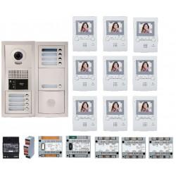 Pack vidéo 9 BP avec 9 moniteurs GT1M3L programmés GTBV9E - Aiphone 200389