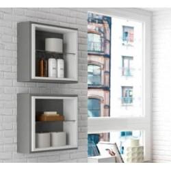 Module de salle de bains Cube FUSSION 400 gris brillant - SALGAR 20679