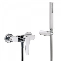 Mitigeur douche Douchette à main anticalcaire avec support orientable et flexible satin - TRES 20516701