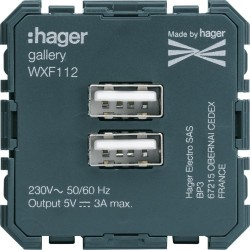 Chargeur USB - APPAREILLAGE MURAL GALLERY HAGER WXF112