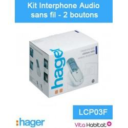 Kit Interphone audio sans fil - 2 logements 2 boutons - Hager logisty - LCP03F