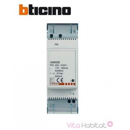 Alimentation pour poste ou platine supplémentaire pour système bus 2 fils -  BTICINO 346020